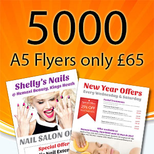 5000 A5 flyers, 130gsm gloss, double sided. Free UK Delivery